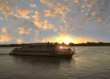 The ship sails along the river Volga. Astrakhan. Russia. Stock Photography