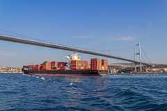 Ship sails Bosphorus Stock Image