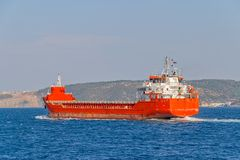 Ship sails Bosphorus Stock Photos