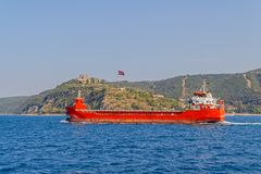 Ship sails Bosphorus Royalty Free Stock Photo
