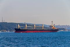 Ship sails Bosphorus Stock Images