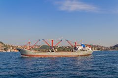 Ship sails Bosphorus Stock Photo