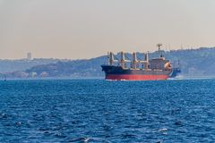 Ship sails Bosphorus Royalty Free Stock Images