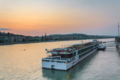 The ship sails on the Danube in Budapest Stock Image