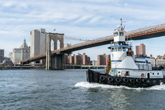 The ship sails on the Hudson River in New York. Royalty Free Stock Photo