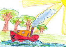 Ship sails near the shore. child drawing. Stock Image