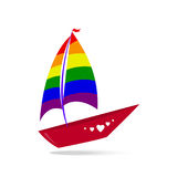 A ship with sails and a red board. Color lgbt Royalty Free Stock Images