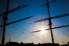 Ship sails silhouette at sunset Royalty Free Stock Images