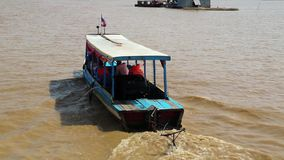 Ship sails to the Tonle Sap lake in Siem Reap province, Cambodia stock video