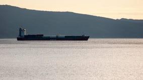 The ship of Sakhalin Shipping Company, bay of Nagaev. Sakhalin Shipping Company (SASCO) (Russian: Сахалинское морское пароходство) Stock Images