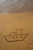 Ship on sand. Royalty Free Stock Images