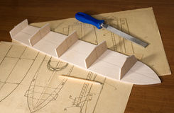 Ship scale model construction Stock Photography