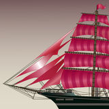 Ship with scarlet sails Royalty Free Stock Images