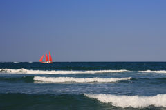 Ship with scarlet sails in the sea (2). Stock Photos