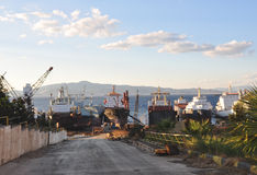 Ship scrapyard Royalty Free Stock Images