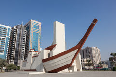 Ship sculpture in the city of Sharjah Stock Photos