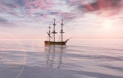 Ship at sea. Old sail ship on the quiet sea Royalty Free Stock Image