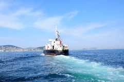 Ship on sea. A vessel goes on sea Stock Photo