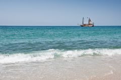 Ship on the sea Stock Images