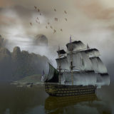 Ship on the sea. 3d render of a ship on the sea Royalty Free Stock Image