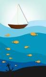 Ship at sea. Creative vector applique vector illustration