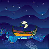 Ship in the sea. In the night Stock Photography