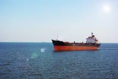 Ship at sea. Ship at blue sea, sunny day Stock Photography