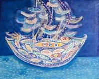 Ship at sea. Abstract textured acrylic painting vector illustration