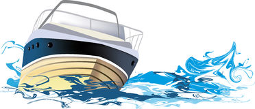 yacht at sea, vector illustration Royalty Free Stock Images