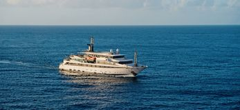 Ship in sea in Bridgetown, Barbados. Sea voyage. Discovery and adventure. Sea voyage on ship. Wanderlust to sea voyage. On passenger ship royalty free stock photo
