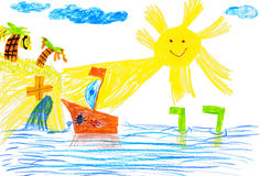 Ship and sea. children's drawing. Stock Photo
