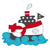 Ship on the sea, cruising on the water. Original hand drawn illustration of the sea ship cruising on the water, with chimney, flag, anchor and lifebuoy Royalty Free Stock Image