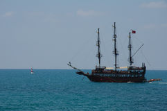 Ship and sea. Historical ship for tourists in Tukrey Stock Image
