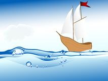 Ship on the sea level.  Royalty Free Stock Photography