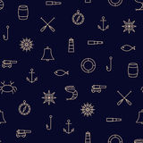 Ship & Sea Line Icons Seamless Pattern Stock Image