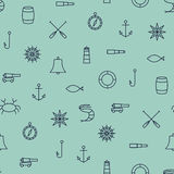 Ship & Sea line icons seamless pattern. On blue background Royalty Free Stock Photo