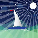 Ship on the sea and moon. Vector illustration Stock Photography