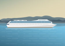 Ship, sea and mountains Stock Image
