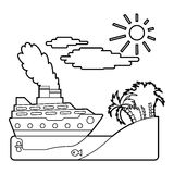 Ship in sea near island concept, outline style Stock Image