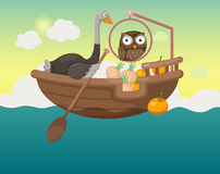Ship in the sea with owl and ostrich Royalty Free Stock Image
