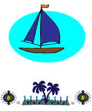 Ship in the sea and  pattern Stock Photo