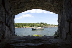 Ship on the sea seen from suomenlinna Stock Photos