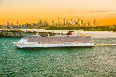 The Ship is at the sea. Sep,12,2016.The Ship is at sea and beautiful light sunset at Sydney Harbour Stock Photography
