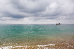 Ship in the sea, Side, Turkey Royalty Free Stock Photography