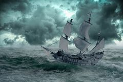 Ship at sea when the storm begins. A ship in the sea or ocean that is in danger due to the storm that creates threatening waves vector illustration