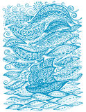 Ship in the sea and storm. Graphic illustration of a boat. Paisley doodle tattoo style. Travel and adventure. Coloring pages for adult vector illustration
