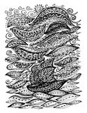 Ship in the sea and storm. Graphic illustration of a boat. Paisley doodle tattoo style. Travel and adventure. Coloring pages for adult royalty free illustration