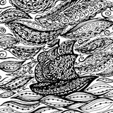Ship in the sea and storm. Graphic illustration of boat. Paisley doodle tattoo style. Travel and adventure. Coloring pages for adult vector illustration