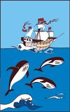 Ship in the sea and there are whale. The ancient ship under sails floats on sea waves. Whale swim and jump at-sea under open-skies royalty free illustration