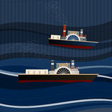 01 Ship sea. Vector illustration of abstract pattern with ships Stock Photography